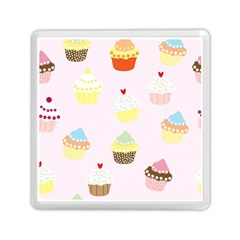 Seamless Cupcakes Wallpaper Pattern Background Memory Card Reader (Square)