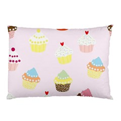 Seamless Cupcakes Wallpaper Pattern Background Pillow Case (Two Sides)