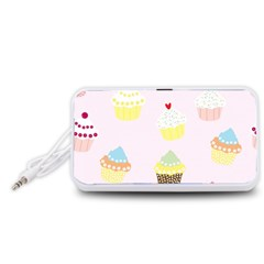 Seamless Cupcakes Wallpaper Pattern Background Portable Speaker (White)