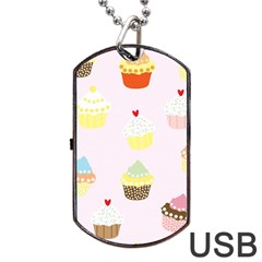 Seamless Cupcakes Wallpaper Pattern Background Dog Tag Usb Flash (two Sides)