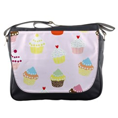 Seamless Cupcakes Wallpaper Pattern Background Messenger Bags