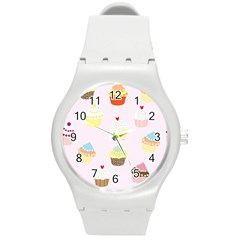 Seamless Cupcakes Wallpaper Pattern Background Round Plastic Sport Watch (m)