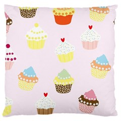 Seamless Cupcakes Wallpaper Pattern Background Large Cushion Case (two Sides)