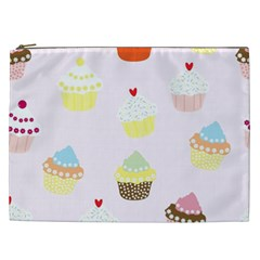 Seamless Cupcakes Wallpaper Pattern Background Cosmetic Bag (xxl)
