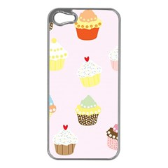 Seamless Cupcakes Wallpaper Pattern Background Apple Iphone 5 Case (silver)