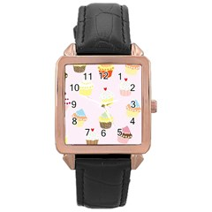 Seamless Cupcakes Wallpaper Pattern Background Rose Gold Leather Watch