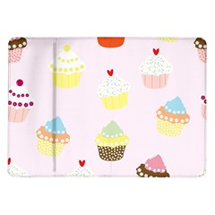 Seamless Cupcakes Wallpaper Pattern Background Samsung Galaxy Tab 10 1  P7500 Flip Case
