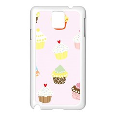 Seamless Cupcakes Wallpaper Pattern Background Samsung Galaxy Note 3 N9005 Case (White)