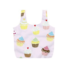 Seamless Cupcakes Wallpaper Pattern Background Full Print Recycle Bags (S)