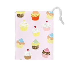 Seamless Cupcakes Wallpaper Pattern Background Drawstring Pouches (Large)