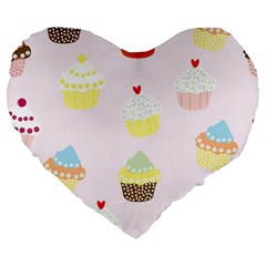 Seamless Cupcakes Wallpaper Pattern Background Large 19  Premium Flano Heart Shape Cushions