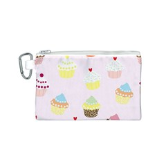Seamless Cupcakes Wallpaper Pattern Background Canvas Cosmetic Bag (S)