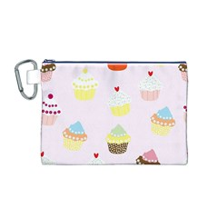 Seamless Cupcakes Wallpaper Pattern Background Canvas Cosmetic Bag (m)