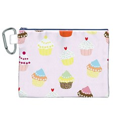 Seamless Cupcakes Wallpaper Pattern Background Canvas Cosmetic Bag (XL)
