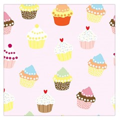 Seamless Cupcakes Wallpaper Pattern Background Large Satin Scarf (square)