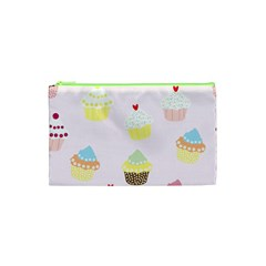 Seamless Cupcakes Wallpaper Pattern Background Cosmetic Bag (XS)