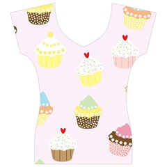 Seamless Cupcakes Wallpaper Pattern Background Women s V-Neck Cap Sleeve Top