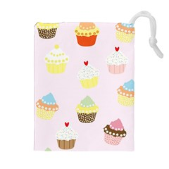 Seamless Cupcakes Wallpaper Pattern Background Drawstring Pouches (Extra Large)