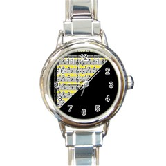 Note Abstract Paintwork Round Italian Charm Watch