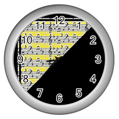 Note Abstract Paintwork Wall Clocks (Silver)