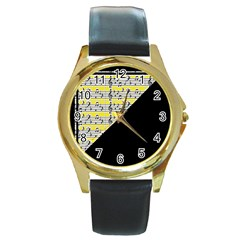 Note Abstract Paintwork Round Gold Metal Watch