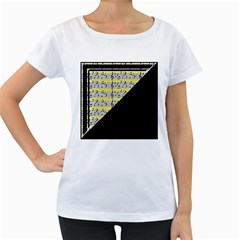Note Abstract Paintwork Women s Loose-Fit T-Shirt (White)