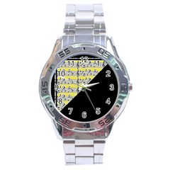Note Abstract Paintwork Stainless Steel Analogue Watch