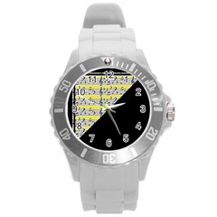 Note Abstract Paintwork Round Plastic Sport Watch (l)