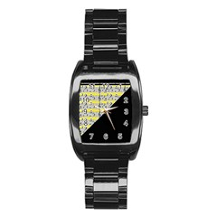 Note Abstract Paintwork Stainless Steel Barrel Watch