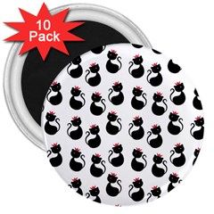 Cat Seamless Animals Pattern 3  Magnets (10 pack)