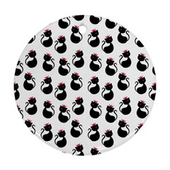 Cat Seamless Animals Pattern Round Ornament (Two Sides)