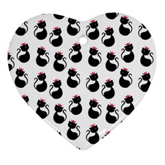 Cat Seamless Animals Pattern Heart Ornament (two Sides)