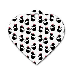 Cat Seamless Animals Pattern Dog Tag Heart (One Side)