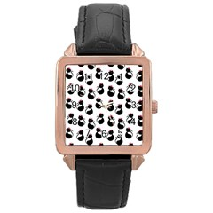 Cat Seamless Animals Pattern Rose Gold Leather Watch