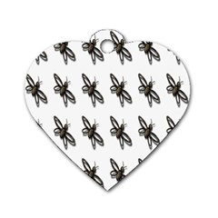 Insect Animals Pattern Dog Tag Heart (two Sides)