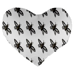 Insect Animals Pattern Large 19  Premium Heart Shape Cushions