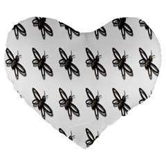 Insect Animals Pattern Large 19  Premium Flano Heart Shape Cushions
