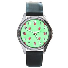 Pretty Background With A Ladybird Image Round Metal Watch