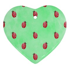 Pretty Background With A Ladybird Image Ornament (heart)