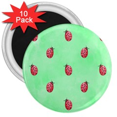 Pretty Background With A Ladybird Image 3  Magnets (10 Pack)