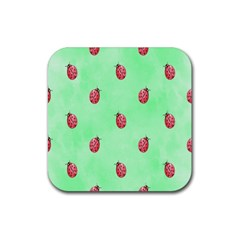 Pretty Background With A Ladybird Image Rubber Square Coaster (4 Pack)