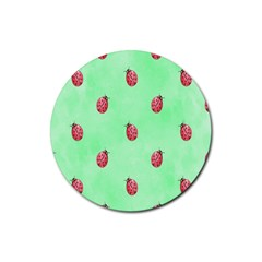 Pretty Background With A Ladybird Image Rubber Round Coaster (4 Pack)