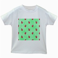 Pretty Background With A Ladybird Image Kids White T Shirts