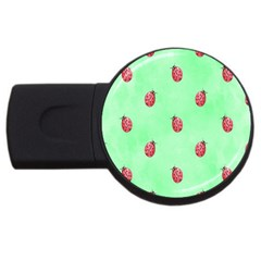 Pretty Background With A Ladybird Image USB Flash Drive Round (1 GB)