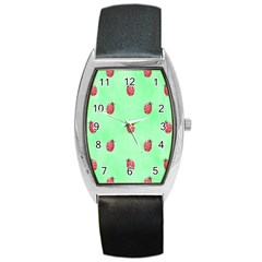Pretty Background With A Ladybird Image Barrel Style Metal Watch
