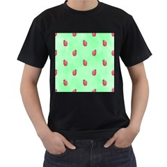 Pretty Background With A Ladybird Image Men s T Shirt (black) (two Sided)