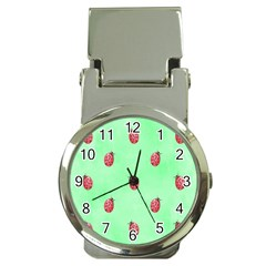 Pretty Background With A Ladybird Image Money Clip Watches