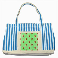 Pretty Background With A Ladybird Image Striped Blue Tote Bag