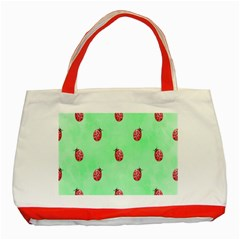 Pretty Background With A Ladybird Image Classic Tote Bag (Red)