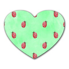 Pretty Background With A Ladybird Image Heart Mousepads